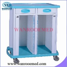 BCHT022 hospital ABS medical record holder trolley with two drawers