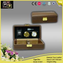 camel color pine wood smoke leather gift set (4441)