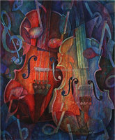 musical instrument oil painting