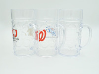 plastic clear beer cup with handle/plastic beer mug shot glass