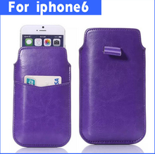 For apple iPhone 6 leather pouch with card holder case cover,made in china factory