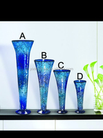5 Sets Light Blue Color Trumpet Shape Artificial Crackle Mosaic Home Deco Blue Cube Glass Vase