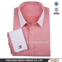 2015 Young fashion pink dobby dress/tuxedo shirt