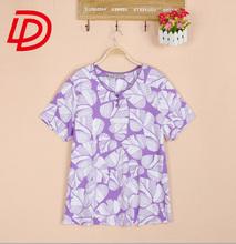 radium print t-shirt wholesale/New product fashtion designs OEM women T-shirt garment factory/Burnout short sleeve