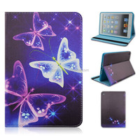 Unique New Night Butterfly Folio Stand TPU+PU Leather Cover Case With Elastic Belt For iPad mini 1/2/3 Tablet