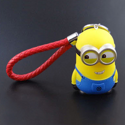 3D rubber despicable me minions keyring, Soft PVC plastic doll toy Keychain key holder, cartoon bag charms Pendant key chain