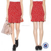 women clothing 100% viscose high waist back invisible zipper red and white polka dot skirt