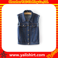 Fashion custom made casual wholesale jean vest denim vest for women