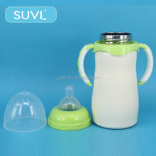 non-toxic impact strength arc shape wide neck 150ml stainless steel baby feeding bottle with handles