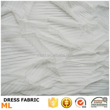 Wedding decoration white pleated mesh fabric fashion dress for wedding dress