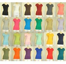 2015 OEM Hot Summer CREW/ROUND NECK Short Sleeve Women/Junior Solid Top Cotton T Shirt S-XL, Women Basic Tee