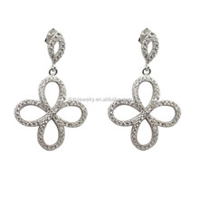 Amazing solid sterling silver flower earring, silver flower pave cz earring, cz studs earring
