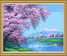 40*50cm tree landscape oil painting, canvas painting by number