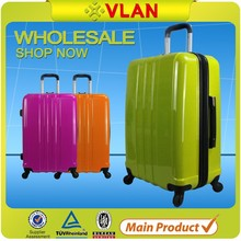 2015 fashion trend business style shiny surface hardshell PC plastic luggage trolley