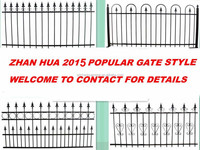 Security wrought iron metal fence for garden