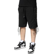 wholesale custom high quality cotton mens shorts with side zippers string