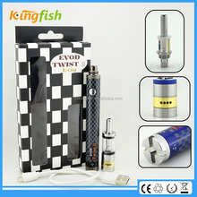 New variable voltage ecig 16.5mm diameter evod twist 3 m16 e cig cloutank m3 with factory price
