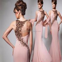 Sexy Sleeveless Crystal Beaded Bodice Mermaid Prom Dress Made In China MP004