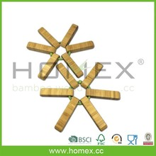 Bamboo And Silicone Trivet/Eco Tabletop Trivet/Homex_FSC/BSCI
