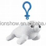 Eco-friendly most hot selling happy kids toy soft animal with voice for seal toys with keychain
