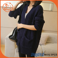 Poncho Knitted Wool Cardigan Women Long Sleeve Autumn Winter Coat Outwear Shawl Ladies Thick Sweaters High Quality 3 Color 2015