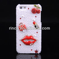 Sexy Red lip lipstick Pearl Bling Diamond Crystal Case cover for Apple iPhone 5 5G