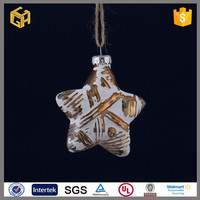 The stars shaped metal christmas glass pendant craft decorations