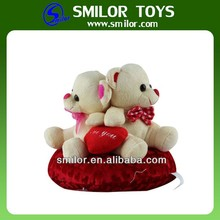Love Couple Bear in A Heart Pillow Plush Toy