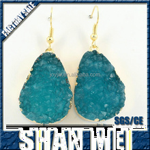 Bright Natural Crystal Druzy Colored Stone Earrings Jewelry