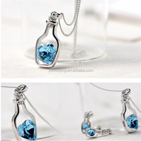 Fashion Female Crystal Heart Pendant Necklaces Wholesale Zircon+Alloy OEM/ODM Service