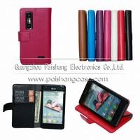 Wallet flip leather case for LG Optimus 3D