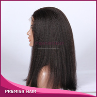 2014 Alibaba Express Full Hand Tied Unprocessed Nature Black Color Nature Hair Kinky Straight Malaysian Virgin Hair Lace Wig