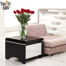 fossil stone furniture Black lacquer design wooden end table