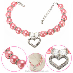 platinum plating heart pendant dog necklace, pearl wholesale pet jewelry