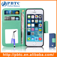 Set Screen Protector Stylus And Case For Iphone 5 , Blue Mobile Phone Leather Cover