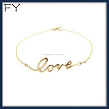 Gold custom word love bracelet