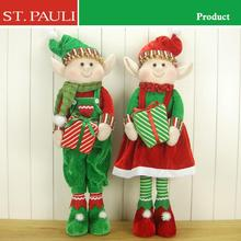 Hot item holiday decoration christmas fabric standing elf doll