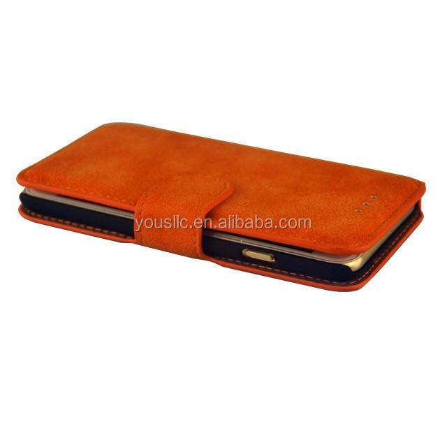 Gros rétro en daim portefeuille étui en cuir, Étui en cuir pour Samsung Galaxy S6 G9200