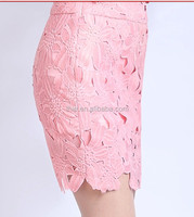 2015 hot sale the newest cotton crochet embroidery lace Pure and fresh Tight skirt
