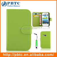 Set Screen Protector Stylus And Case For Samsung Galaxy Young S6310 , Green Leather Wallet China Mobile Phone Case