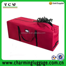 Travel duffle bag with wheels / red color christmas tree storage bag with zipper