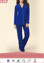 Fashion Long Sleeve Notch Collar Pajama Set Jewel Blue/Jersey Knit Sleepwear/Loungewear
