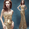Personalized gold diamond luxury fishtail dress performance apparel