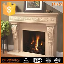 Baroque design hotel use natural marble floating fireplace
