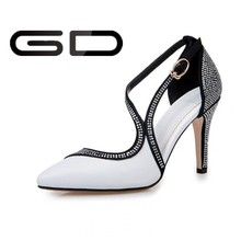 White and black fashion new model design china wholesale fashion women high heel shoes for evening party