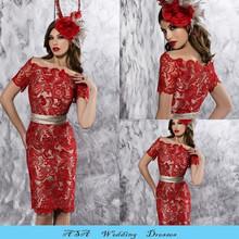 New Elegant Plus Size Knee Length Wedding Dress Bateau Short Sleeve Red Mother of the Groom Bride Lace Dresses Short 2015(MM04)