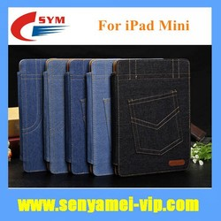 2015 Stylish Jeans Design Luxury Wallet For iPad Mini Flip Case Stand Cover
