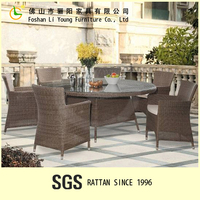 Hot Outdoor Living Room Furniture Sets Synthetic PE Rattan Wicker Furniture Modern Round Table and Chairs for Garden Coffee Shop