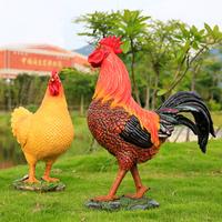 cheap polyresin cock and hen statue farm animals garden decoration