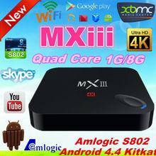 Promotion!!! Amologic android 4.4 quad core/4k smart tv box, Mxiii Tv Box Support Malaysia Astro HD IPTV